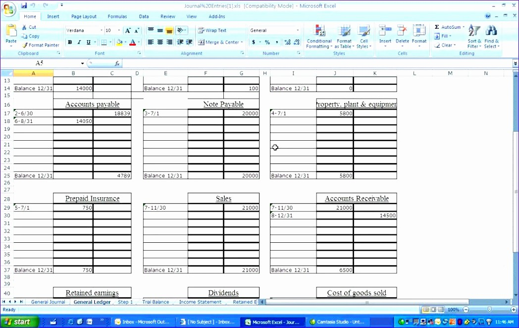 Journal Entry Template for Excel Awesome 10 General Ledger Template Excel Exceltemplates