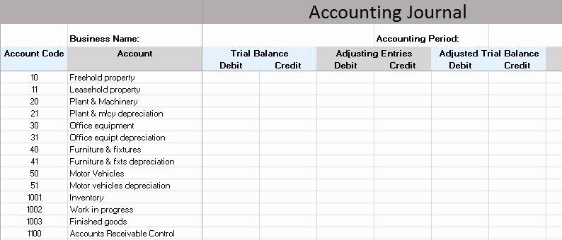 Journal Entry Template for Excel Elegant Excel Template