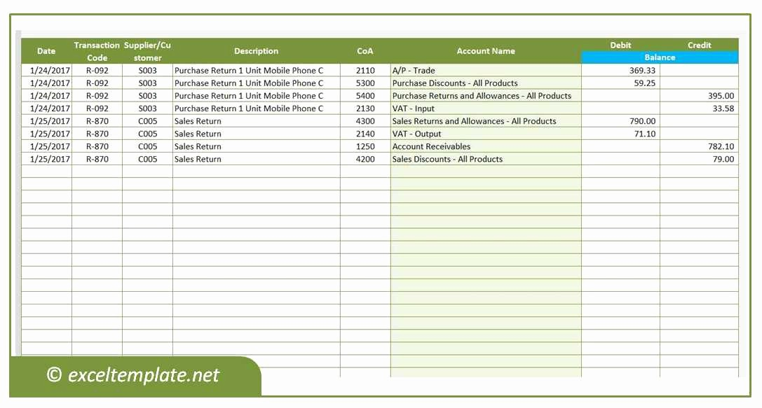 Journal Entry Template for Excel New Accounting Journals