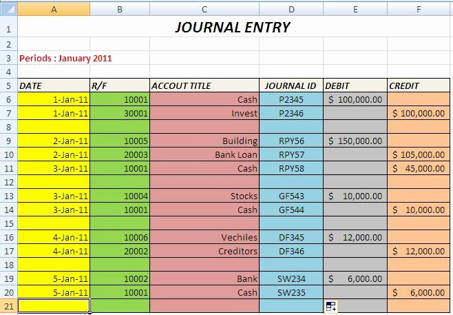 Journal Entry Template for Excel Unique Create the Journal and Journal Entry with Excel Part 2