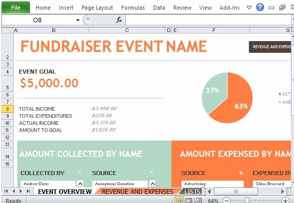 Keep Track Of Charitable Donations Awesome Fundraiser event Bud Maker for Excel