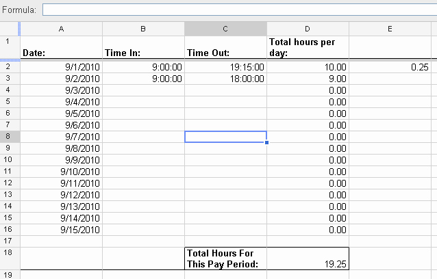Keeping Track Of Hours Worked Beautiful Google Sheets Automatically Calculate Overtime Hours