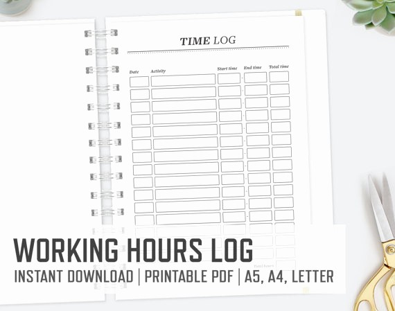 Keeping Track Of Hours Worked New Working Hours Log A5 A4 Letter Time Log Business Time
