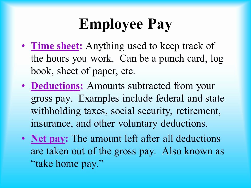 Keeping Track Of Hours Worked Unique Unit 1 Employment Basics Ppt Video Online