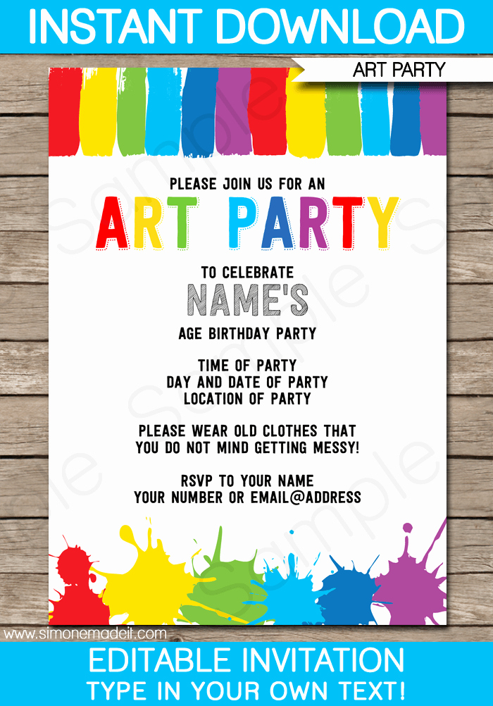 Kids Birthday Party Invite Templates Awesome Art Party Invitations Template