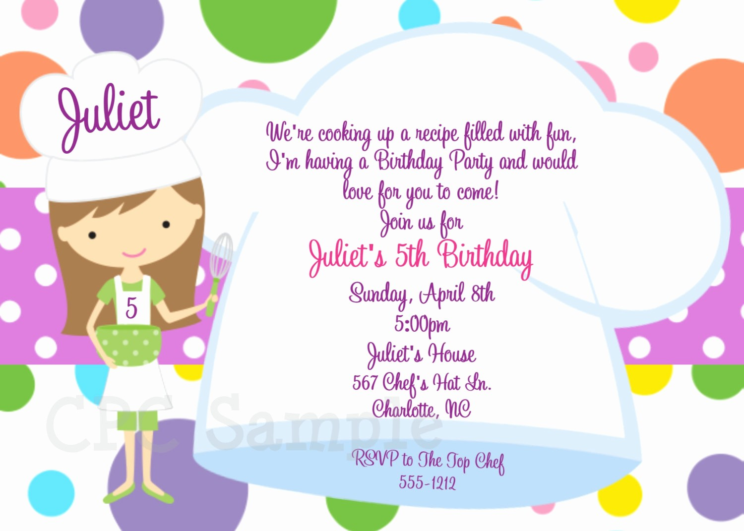 Kids Birthday Party Invite Templates Lovely Cooking Party Invitation Baking Birthday Invitations