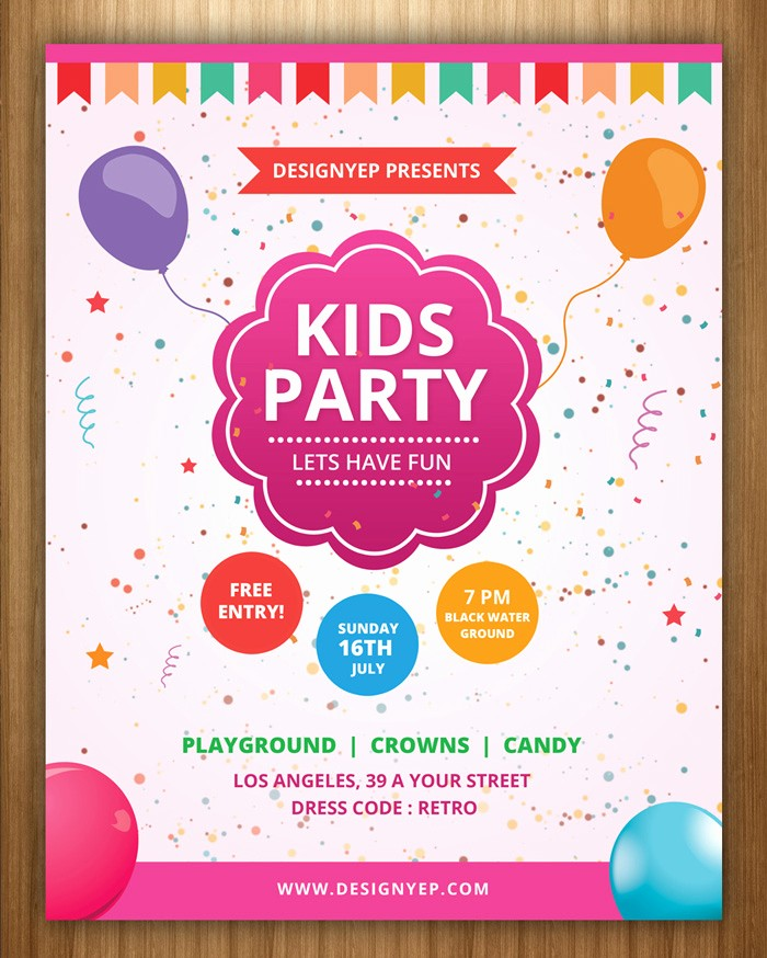 Kids Birthday Party Invite Templates Unique 17 Free Birthday Invitation Templates Psd Designyep