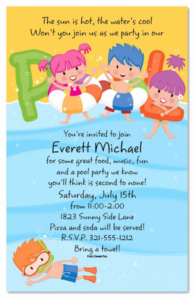 Kids Birthday Party Invites Templates Beautiful Free Printable Kids Pool Party Invitations Templates 4