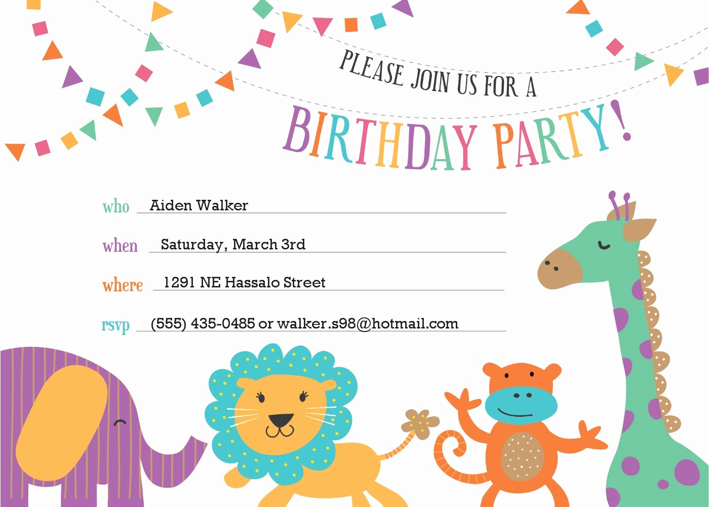 Kids Birthday Party Invites Templates Best Of Template for Birthday Invitation