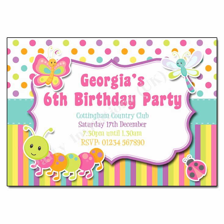 Kids Birthday Party Invites Templates Fresh Bugs & butterfly Children S Party Invitation