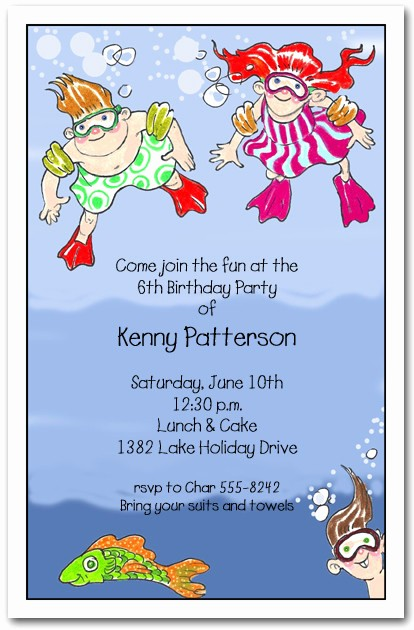 Kids Birthday Party Invites Templates Unique Underwater Swim Kids Party Invitations Swim Party Invitations