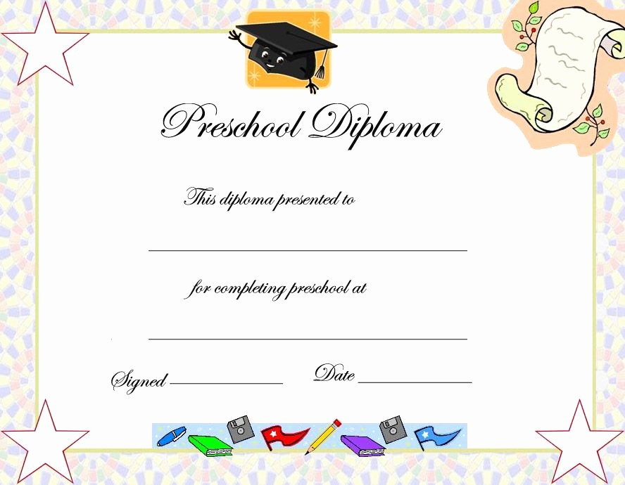 Kindergarten Graduation Diploma Free Printable Fresh Preschool Graduation Certificate Template