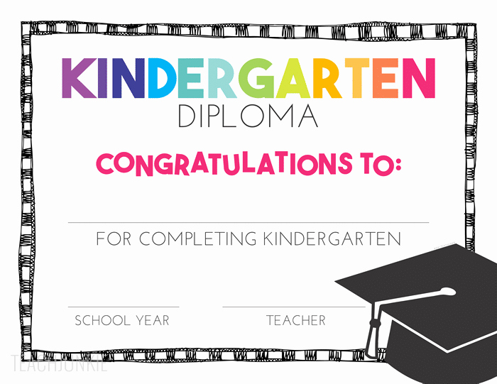 Kindergarten Graduation Diploma Free Printable Inspirational Free Pre K and Kindergarten Graduation Diplomas Teach Junkie