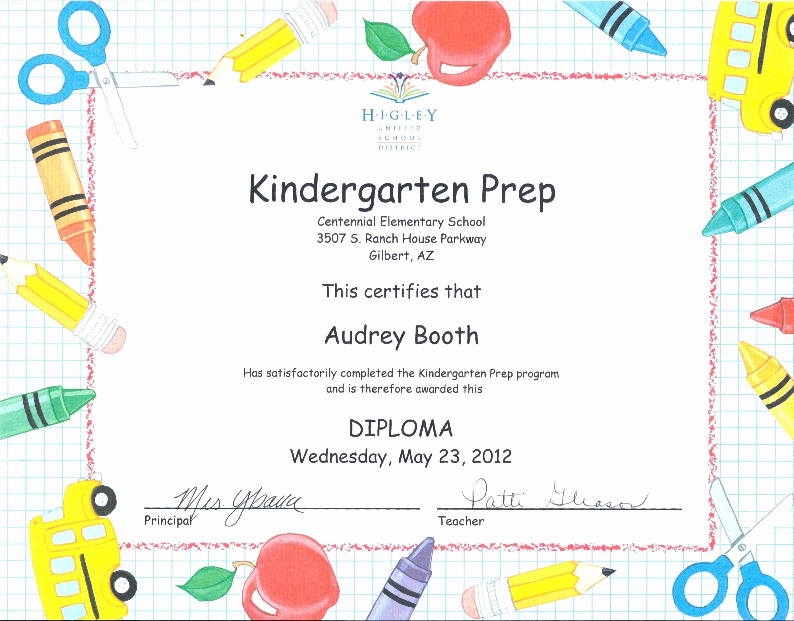 Kindergarten Graduation Diploma Free Printable Unique Template Preschool Graduation Diploma Template