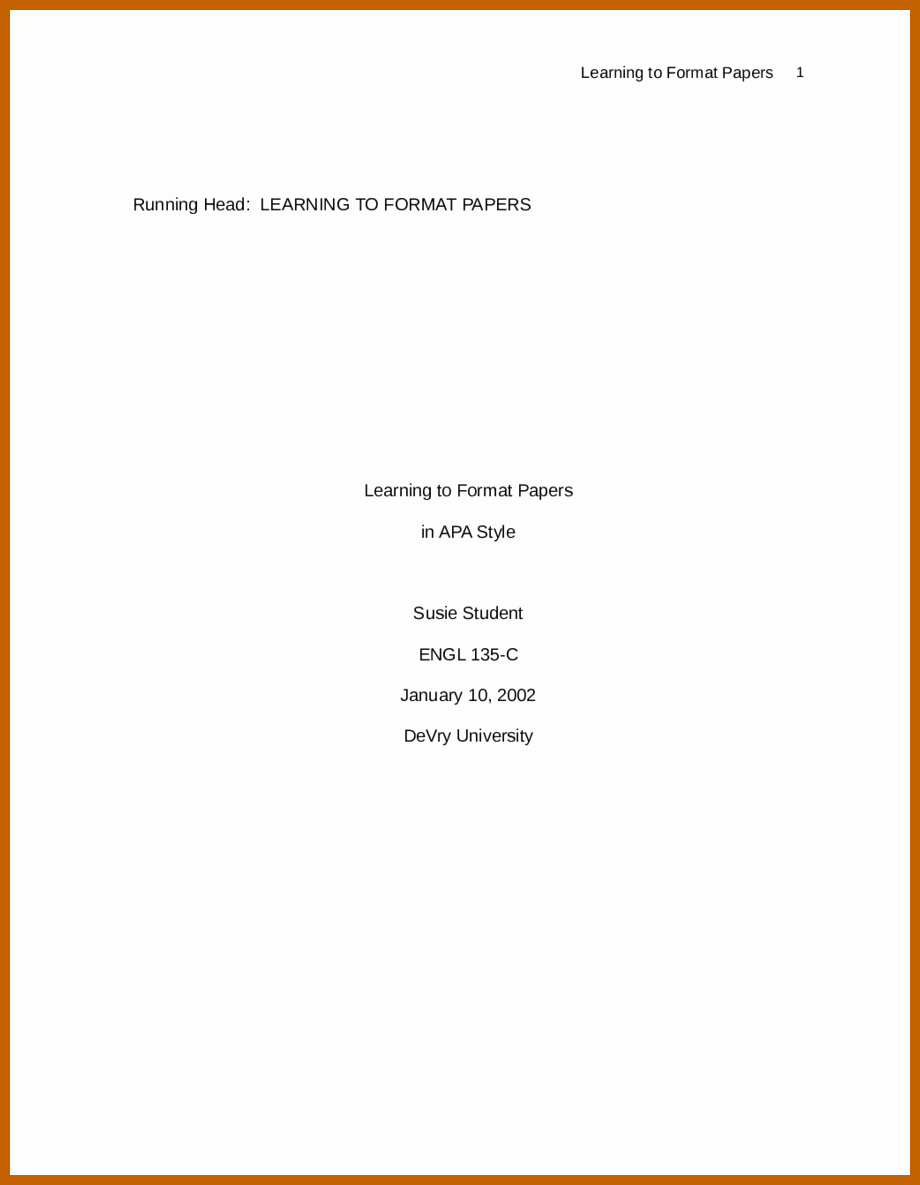 Lab Report Cover Page Apa Beautiful 3 4 Cover Page Example Apa