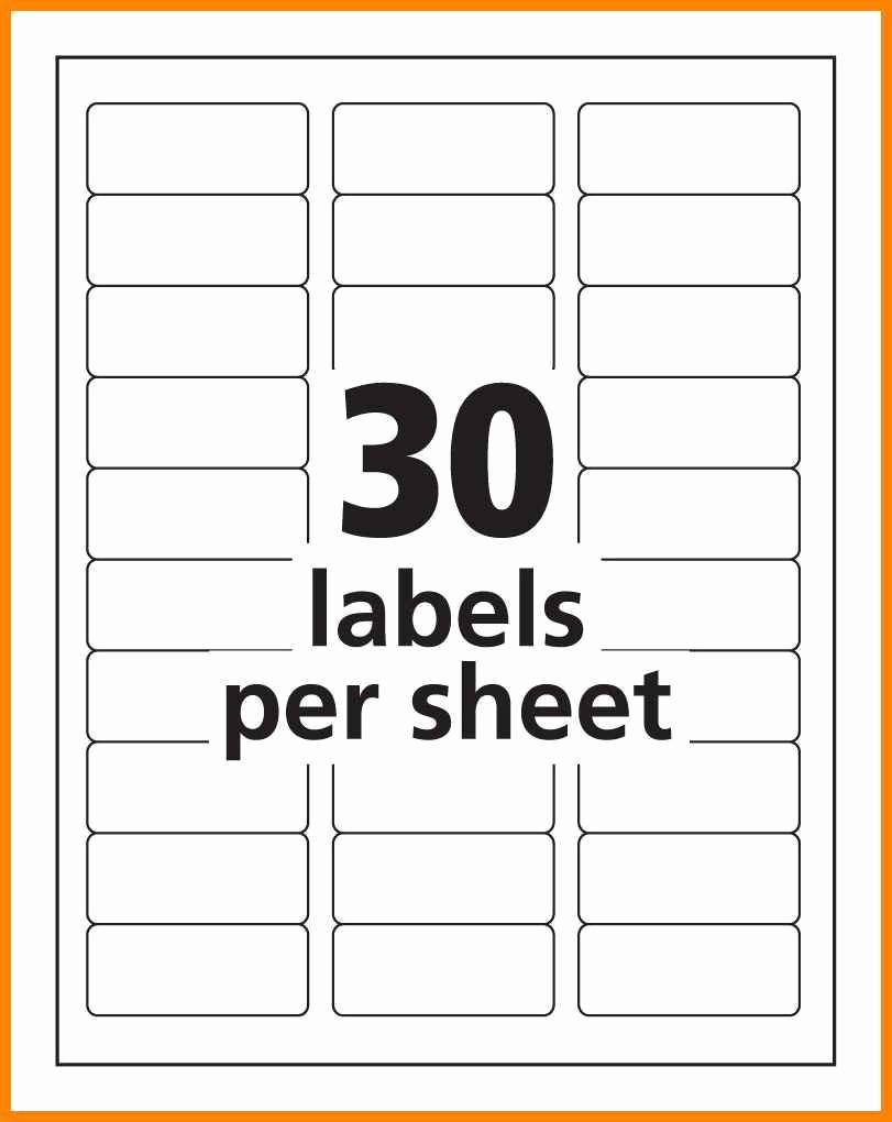Labels Template 30 Per Sheet Inspirational 18 30 Label Template