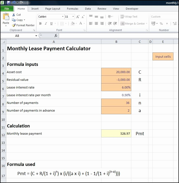 Lease Payment Calculator Excel Template Beautiful Capital Lease Amortization Schedule Excel Template
