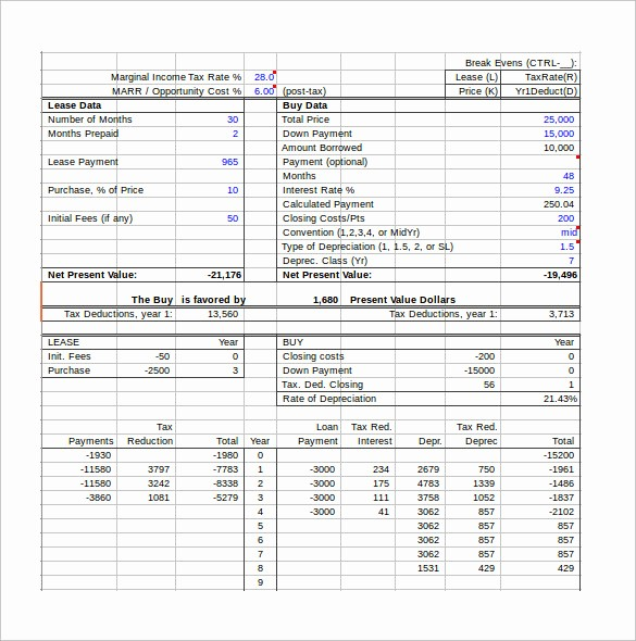 Lease Payment Calculator Excel Template Luxury 10 Lease Payment Calculator Templates to Download