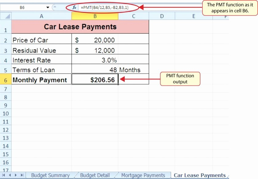 Lease Payment Calculator Excel Template Luxury Car Lease Calculator Excelreadsheet Equipment New Program
