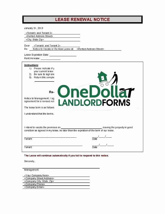 Lease Renewal Notice to Tenant Awesome C01 Lease Renewal Notice