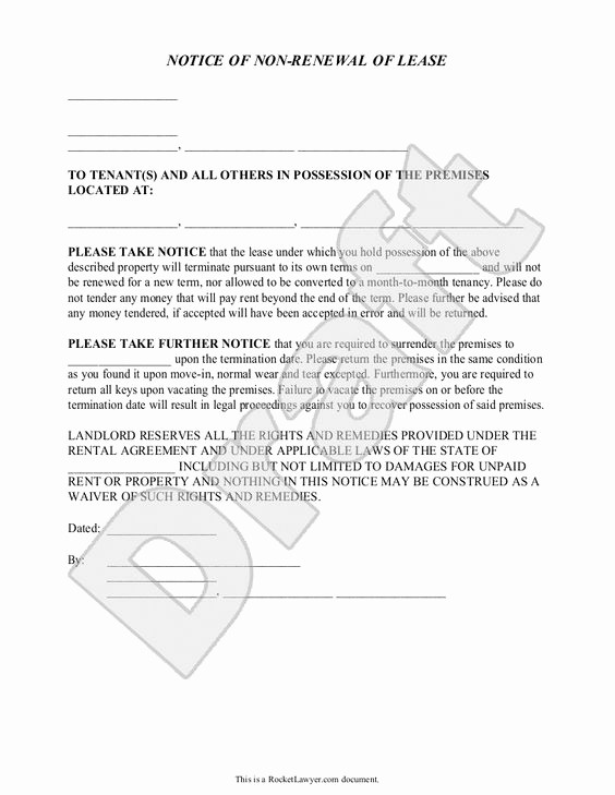 Lease Renewal Notice to Tenant Awesome Landlord S Notice Of Non Renewal Of Lease to Tenants with