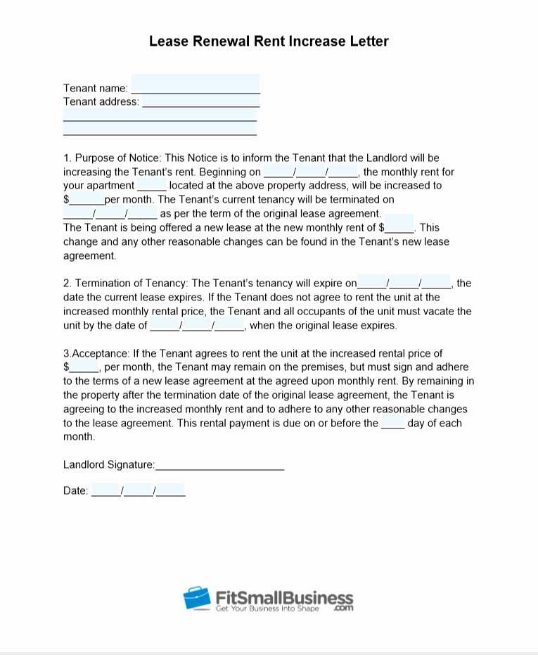 Lease Renewal Notice to Tenant Best Of Sample Rent Increase Letter [ Free Templates]