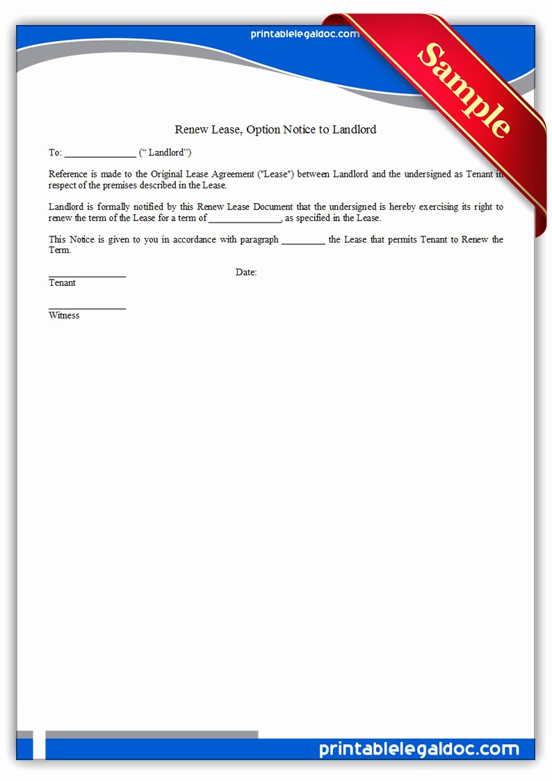 Lease Renewal Notice to Tenant Elegant Free Printable Renew Lease Option Notice to Landlord form