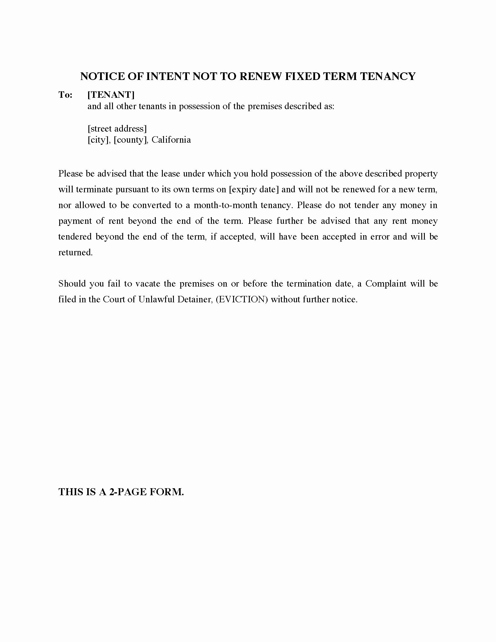 Lease Renewal Notice to Tenant Elegant Tenant Not Renewing Lease Letter