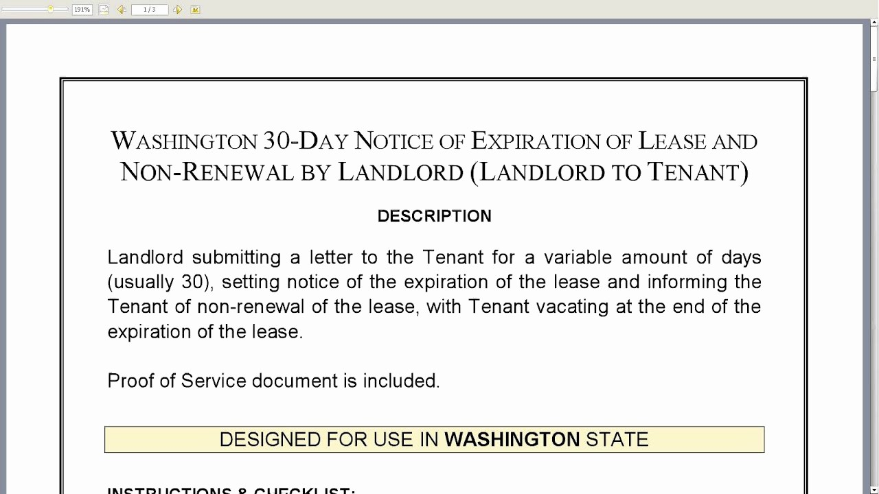 Lease Renewal Notice to Tenant Elegant Washington 30 Day Notice Of Expiration Of Lease and Non