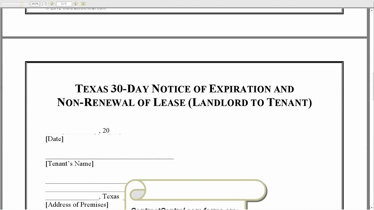 Lease Renewal Notice to Tenant Fresh Texas 30 Day Notice Of Expiration and Non Renewal Of Lease