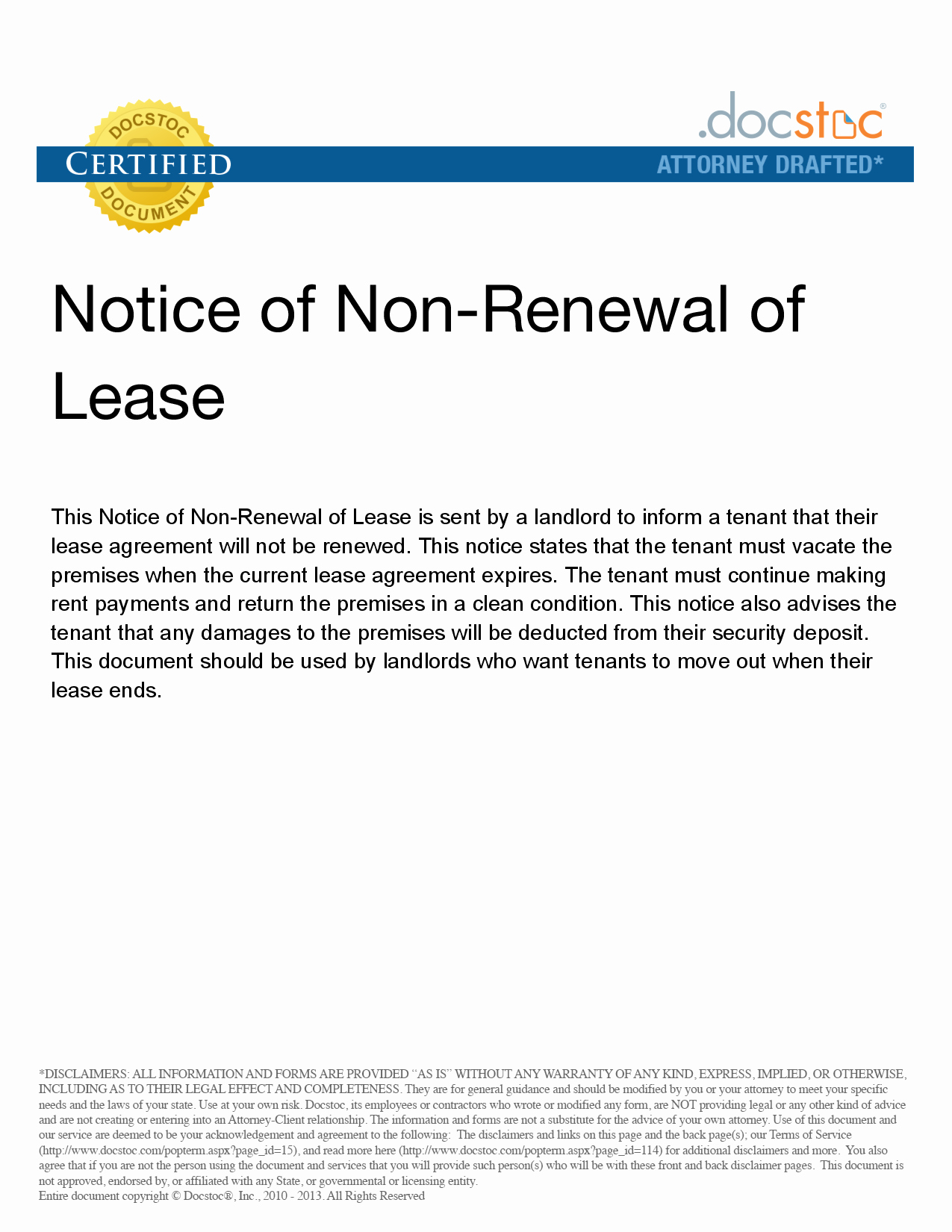 Lease Renewal Notice to Tenant Luxury Letter Not Renewing Lease Free Printable Documents