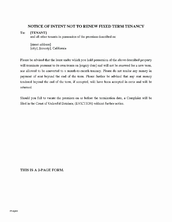 Lease Renewal Notice to Tenant New Lease Renewal Letter Non Rent Increase to Not Renew