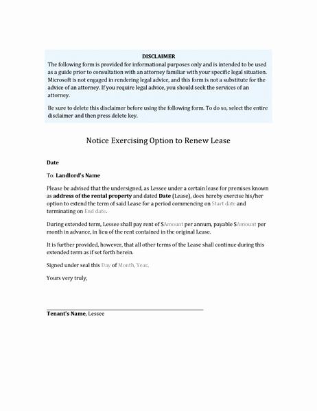Lease Renewal Notice to Tenant Unique Tenant S Notice Exercising Option to Renew Lease
