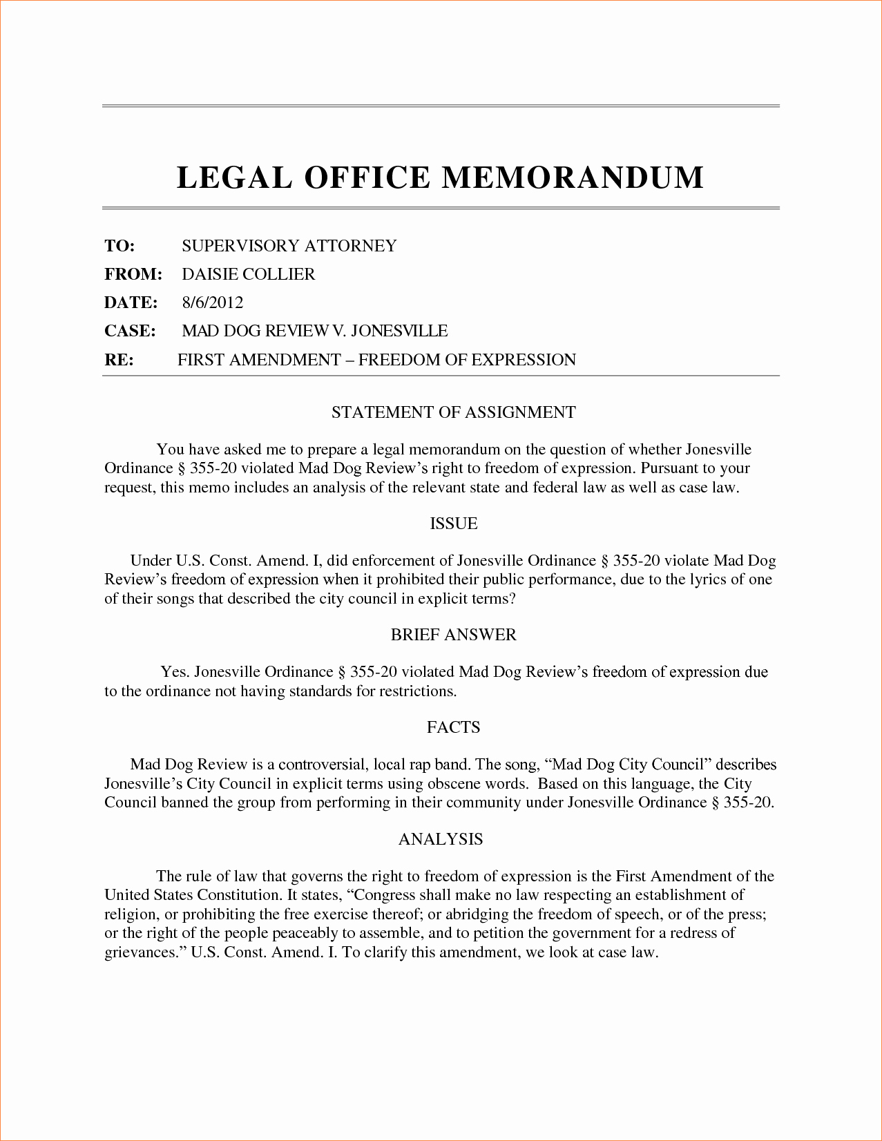 5 sample legal memo