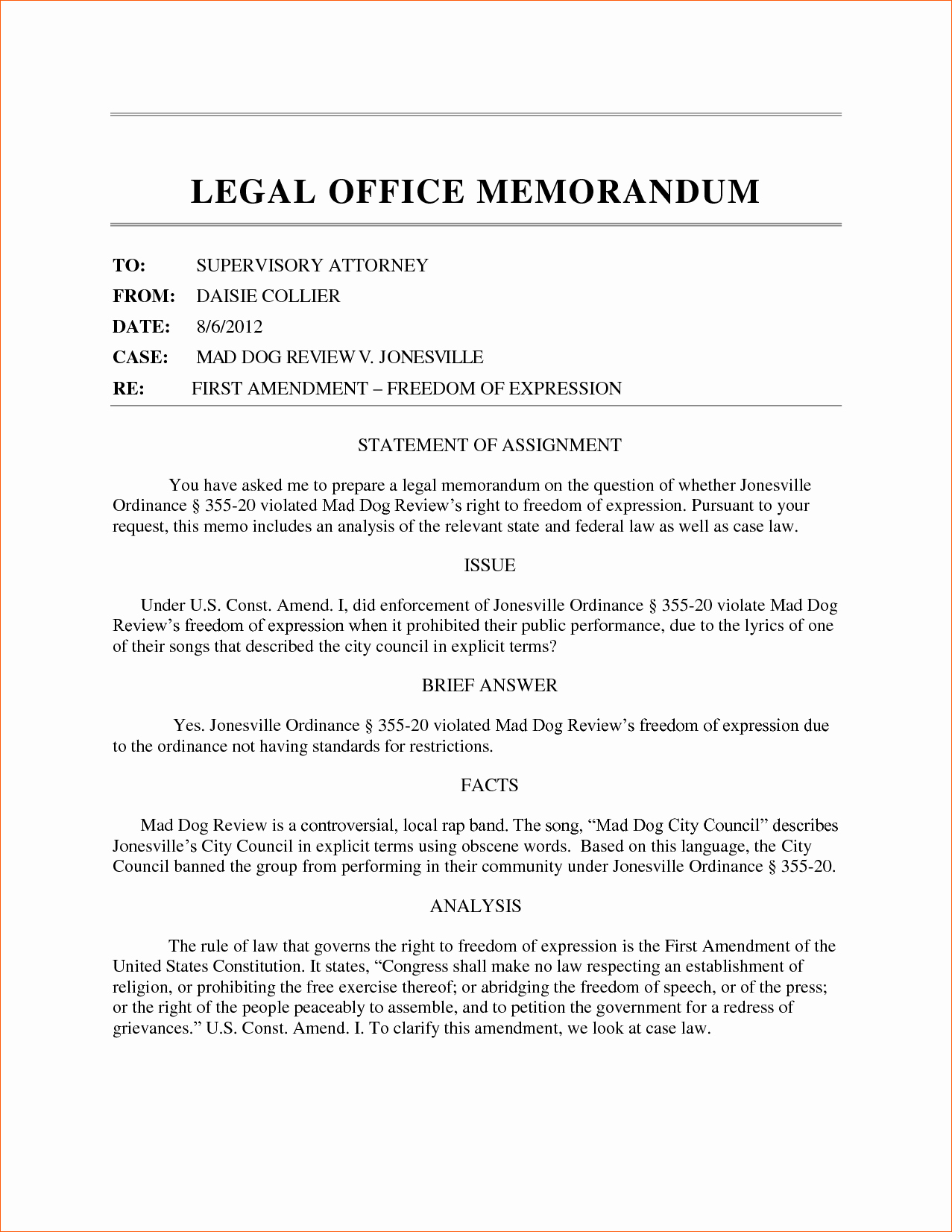 Legal Memo to File Template Elegant 8 Sample Legal Memorandum