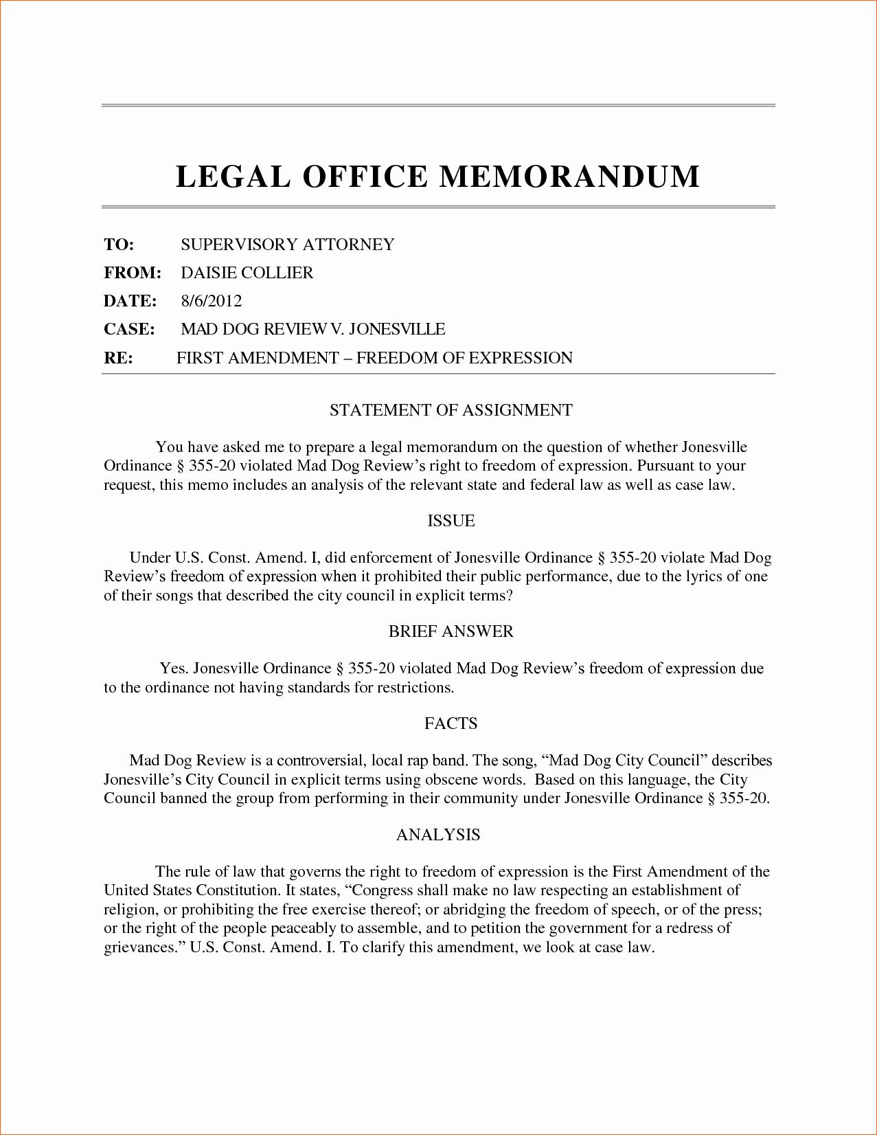 Legal Memo to File Template Elegant 8 Sample Legal Memorandum