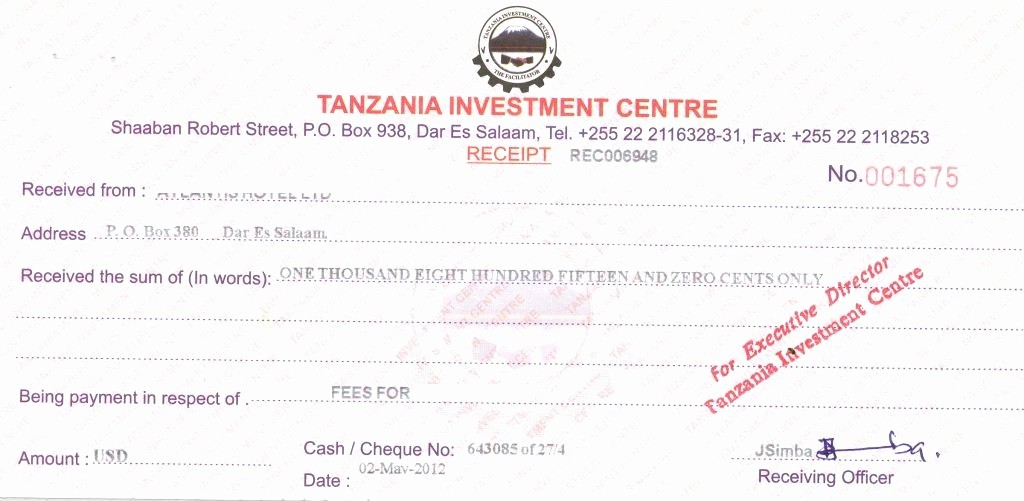 Legal Receipt for Cash Payment Beautiful Tanzania Investment Centre