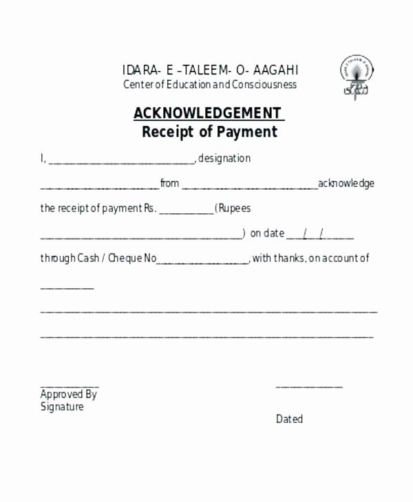 Legal Receipt for Cash Payment Inspirational Cash Receipt Template Free Uk Acknowledgement Payment