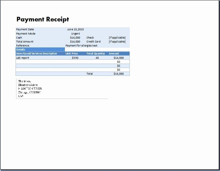Legal Receipt for Cash Payment Lovely Ms Excel Payment Receipt Template