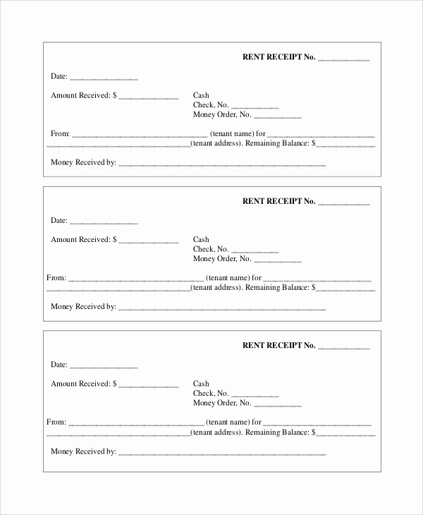 Legal Receipt for Cash Payment New 7 Rent Receipt Samples
