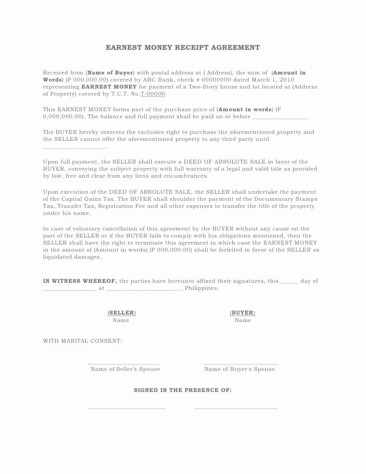Legal Receipt for Cash Payment New Earnest Money Receipt Agreement