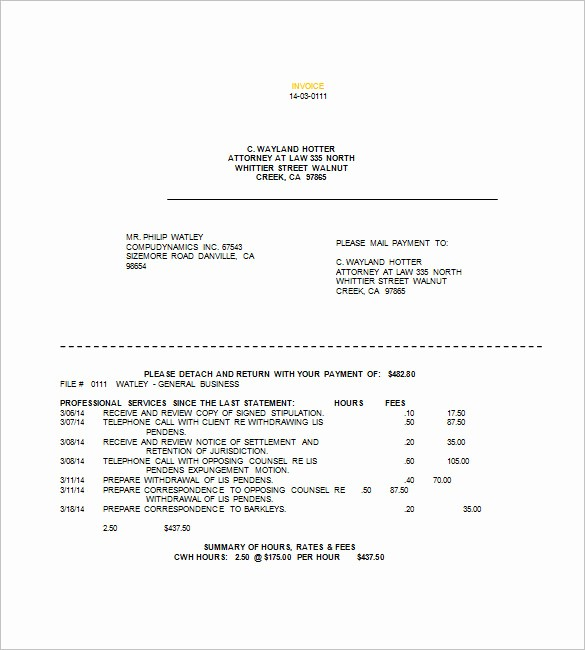 Legal Services Invoice Template Excel New Legal Invoice Template