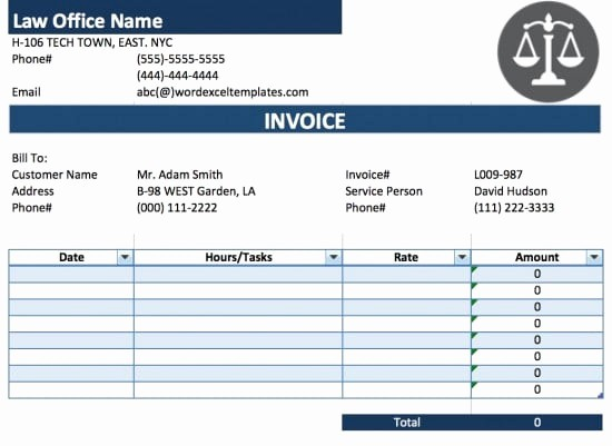 Legal Services Invoice Template Excel Unique Free Legal attorney Lawyer Invoice Template