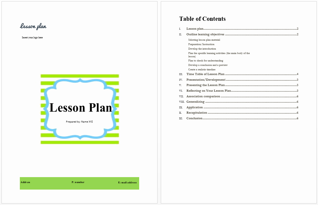 Lesson Plan for Microsoft Word Beautiful Lesson Plan Template Microsoft Word Templates