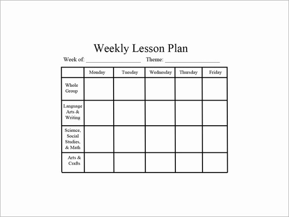 Lesson Plan for Microsoft Word Lovely Weekly Lesson Plan Template Word