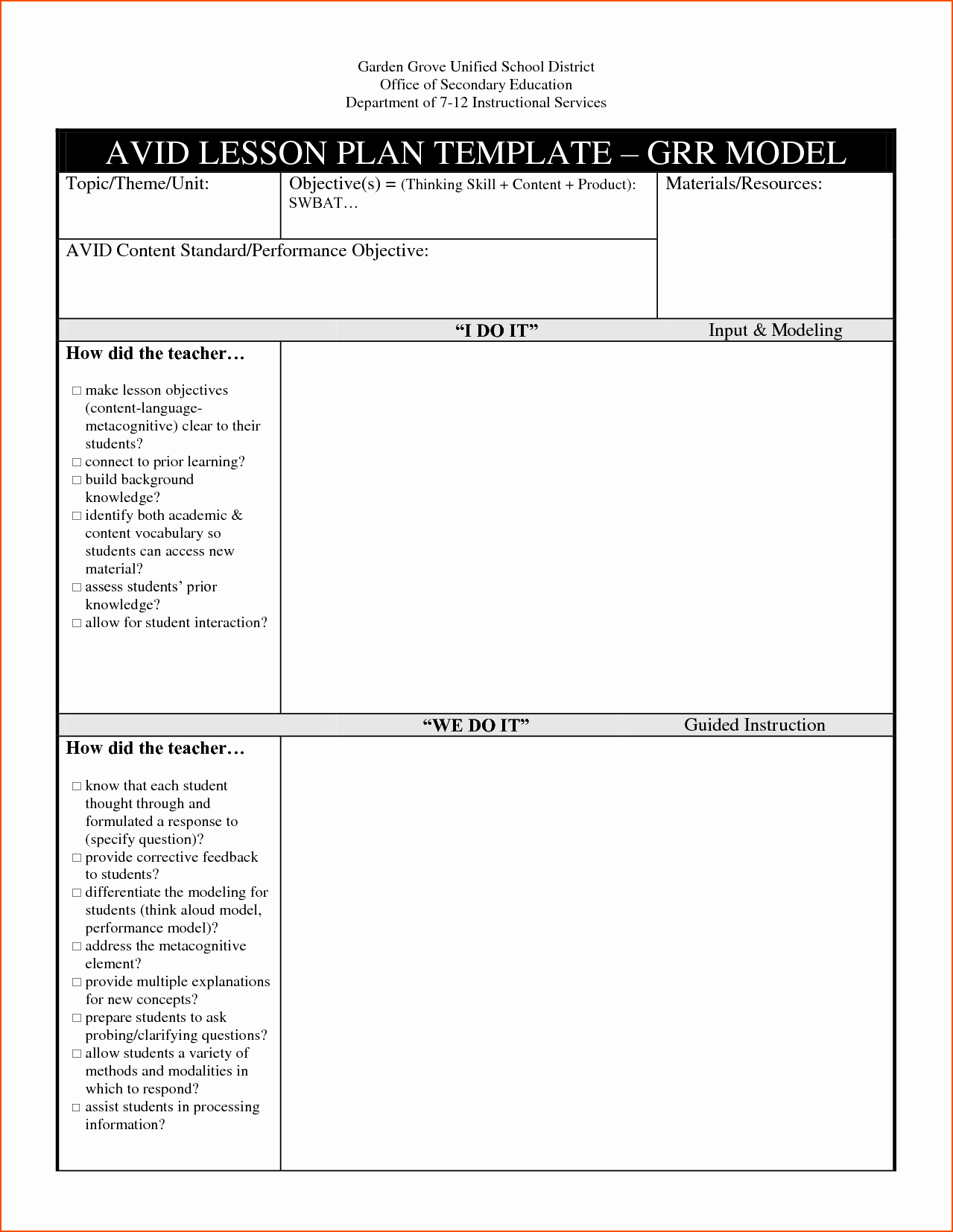 Lesson Plan for Microsoft Word Unique Core Instructional Model Lesson Plan Template Beautiful