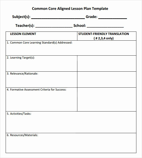 Lesson Plan Template for Adults Beautiful 7 Sample Mon Core Lesson Plan Templates to Download