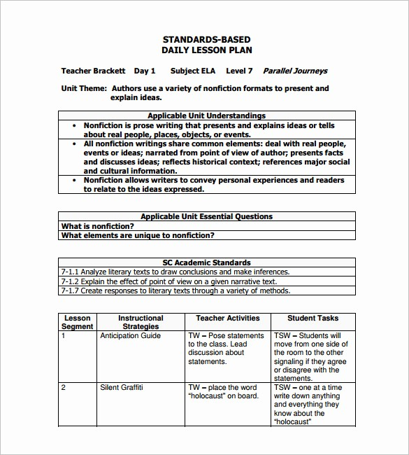 Lesson Plan Template for Adults Fresh Daily Lesson Plan Template 14 Free Pdf Word format