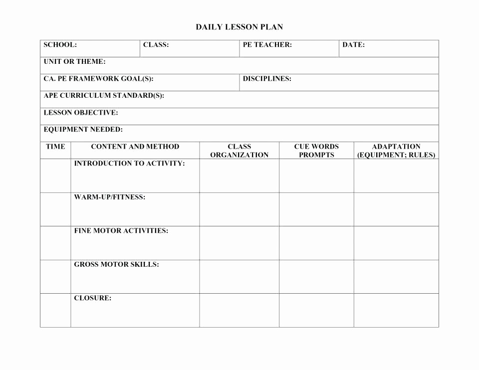 Lesson Plan Template for Adults New Lesson Plan Template for