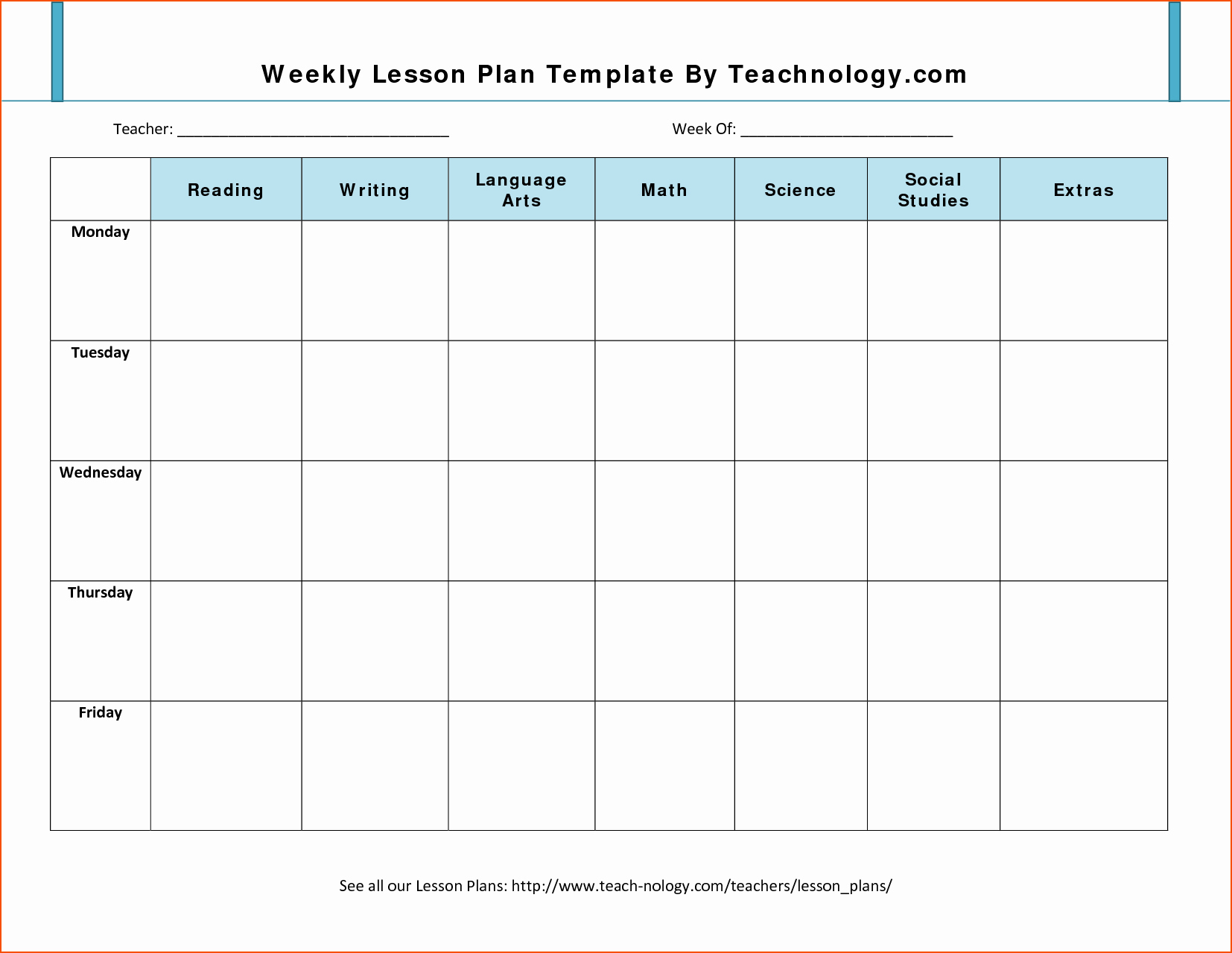Lesson Plan Template for Teachers Awesome 7 Weekly Lesson Plan Template Bookletemplate